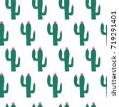 hand drawn cactus pattern | Shutterstock .eps vector #719291401