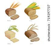 four breads with slices and... | Shutterstock .eps vector #719297737