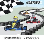 karting. leader pulls forward... | Shutterstock .eps vector #719299471