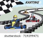 karting. leader pulls forward... | Shutterstock .eps vector #719299471