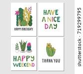 cactus cards set | Shutterstock .eps vector #719299795