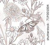 vintage style vector floral...   Shutterstock .eps vector #719301004