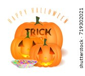 all hallows' eve vector card.... | Shutterstock .eps vector #719302021