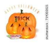 all hallows' eve vector card.... | Shutterstock .eps vector #719302021