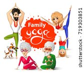 family yoga vector illustration.... | Shutterstock .eps vector #719303851