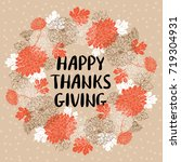 happy thanksgiving day greeting ... | Shutterstock .eps vector #719304931