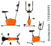 exercise bike with a monitor... | Shutterstock .eps vector #719304991