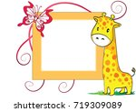 giraffe with card border   Shutterstock .eps vector #719309089