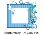 flowers with card border   Shutterstock .eps vector #719309545