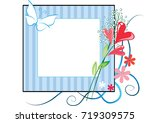 flowers with card border   Shutterstock .eps vector #719309575