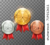 gold silver and bronze awards   Shutterstock .eps vector #719312611