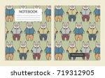notebook with cute cartoon cats ... | Shutterstock .eps vector #719312905