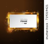 golden frame with lights... | Shutterstock .eps vector #719319421
