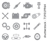 car parts icons. gray flat... | Shutterstock .eps vector #719319964