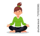 woman meditating in lotus pose... | Shutterstock .eps vector #719320381