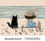 a little girl and her cat are...   Shutterstock .eps vector #719323351