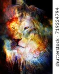 Stock photo lion in the cosmic space lion photos and graphic effect 719324794