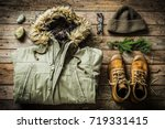 warm male clothes  warm jacket  ...   Shutterstock . vector #719331415