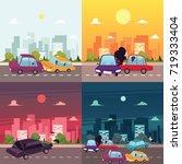 vector flat cartoon car crash ... | Shutterstock .eps vector #719333404
