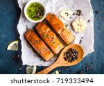 delicious fried salmon fillet ... | Shutterstock . vector #719333494