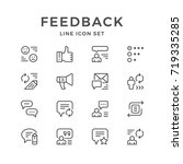 set line icons of feedback... | Shutterstock .eps vector #719335285
