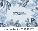 vintage design for christmas... | Shutterstock .eps vector #719342275