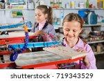 happy  positive schoolgirls... | Shutterstock . vector #719343529