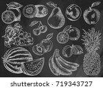 fruits menu  summer garden ... | Shutterstock .eps vector #719343727