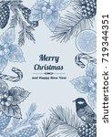 vintage design for christmas... | Shutterstock .eps vector #719344351