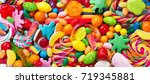 various colorful candies ... | Shutterstock . vector #719345881