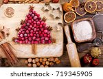 christmas food. ingredients for ... | Shutterstock . vector #719345905