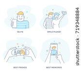 selfie icon set.  flat line... | Shutterstock .eps vector #719348884