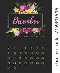 vintage floral calendar 2018... | Shutterstock .eps vector #719349919