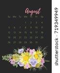vintage floral calendar 2018... | Shutterstock .eps vector #719349949