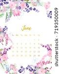 vintage floral calendar 2018... | Shutterstock .eps vector #719350009