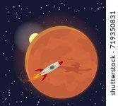 mars orbit and rocket. vector...