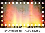 vintage film strip frame with... | Shutterstock . vector #719358259