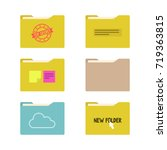 set of document folders. yellow ... | Shutterstock .eps vector #719363815