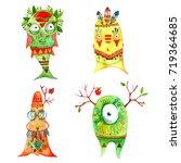boho monsters set. hand drawn... | Shutterstock . vector #719364685