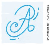 a blue vintage a alphabet... | Shutterstock .eps vector #719369581