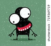 cute black monster with... | Shutterstock .eps vector #719369719