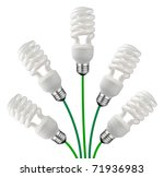 Green New Ideas - Five Saver Bulbs attached to Green Cables Isolated on White Background - stock photo