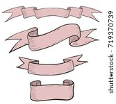 pink ribbon banners. hand drawn ... | Shutterstock .eps vector #719370739