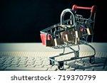 a trolley on computer keyboard...   Shutterstock . vector #719370799