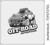 off road suv car emblem. safari ... | Shutterstock .eps vector #719372701