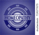 homeopathy badge with denim... | Shutterstock .eps vector #719377075