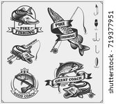 set af fishing labels with a... | Shutterstock .eps vector #719377951