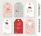 collection of six christmas... | Shutterstock .eps vector #719378617