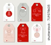 collection of six christmas... | Shutterstock .eps vector #719378635