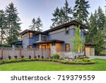 luxurious new home with curb... | Shutterstock . vector #719379559